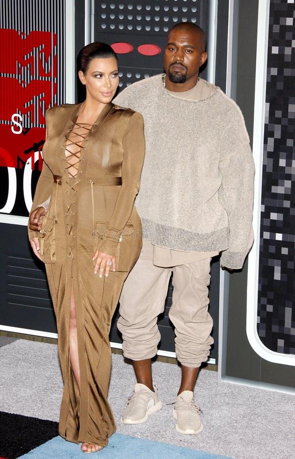 Kanye West et Kim Kardashian photos libres de droits