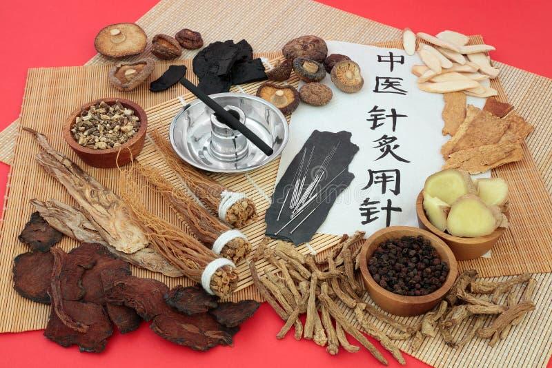 Kanyler för akupunktur som används i traditionell kinesisk medicin royaltyfria foton