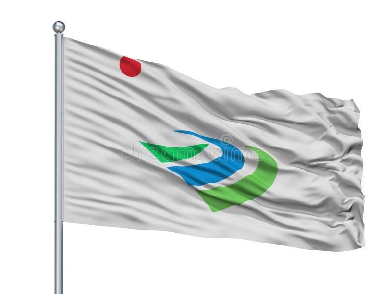 Kanzaki-Stadt-Flagge auf Fahnenmast, Japan, Saga-Präfektur, lokalisiert auf weißem Hintergrund stock abbildung