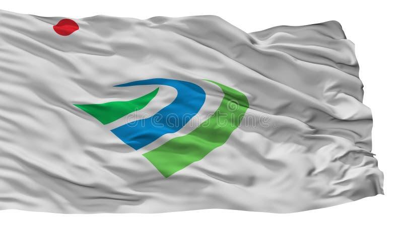 Kanzaki-Stadt-Flagge, Japan, Saga-Präfektur, lokalisiert auf weißem Hintergrund lizenzfreie abbildung