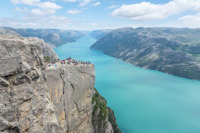 Kanzelfelsen in Norwegen stockbilder