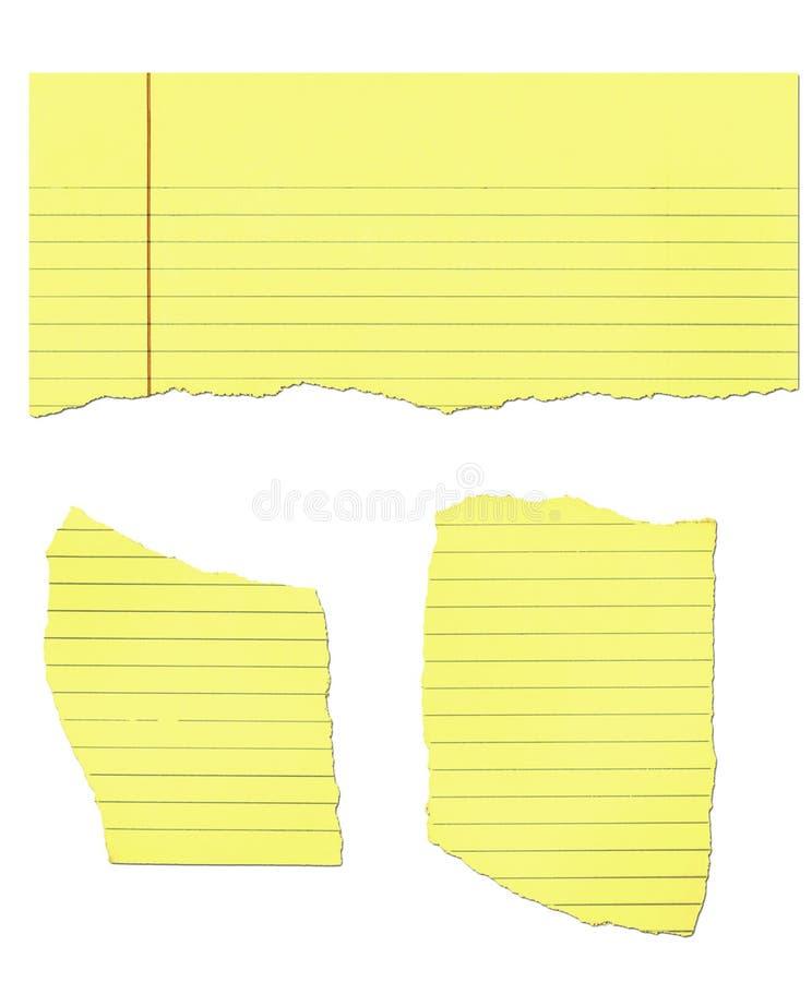 Kanzleibogenblock-Papier zerrissen stockfotos