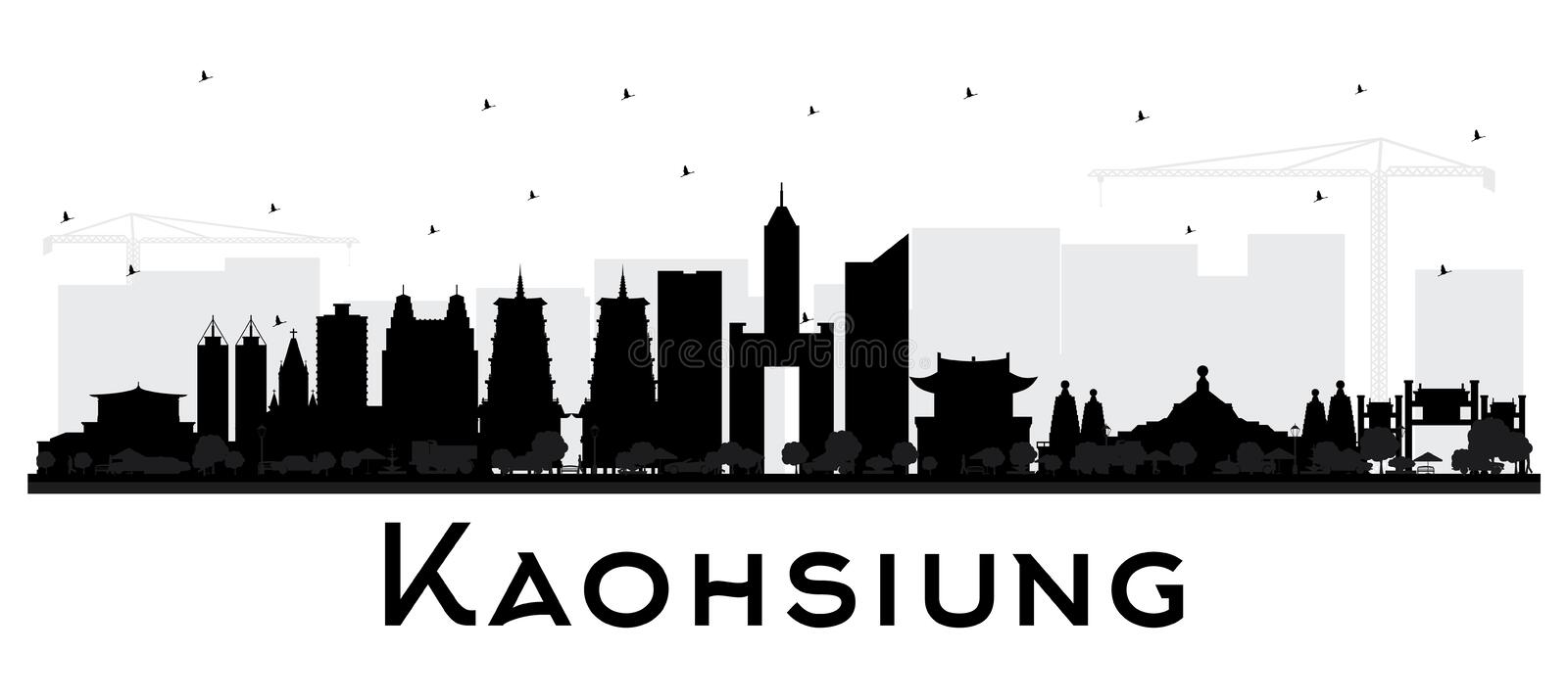 Kaohsiung Taiwan City Skyline Silhouette with Black Buildings Isolated on White. Vector Illustration. Business Travel and Tourism Concept with Historic vector illustration