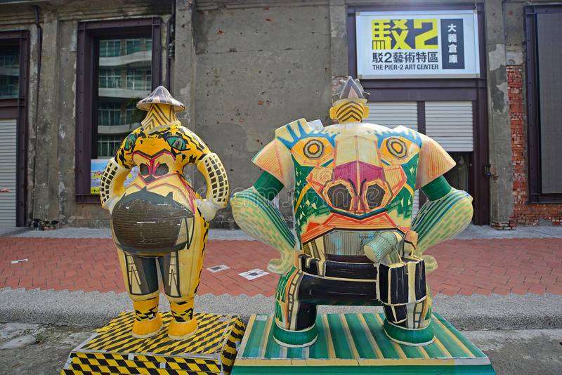 Kaohsiung, Taiwan - January 22, 2016 : The sculpture in The Pier-2 Art Center. royalty free stock photos