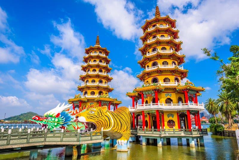 Kaohsiung Taiwan pagoder royaltyfri bild