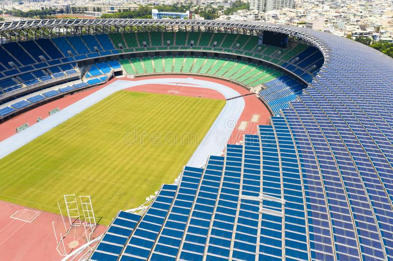 Kaohsiung, Taiwan - Sept 11, 2019 : View of Kaohsiung National Stadium World Games Stadium. Solar panel on the roof royalty free stock photo