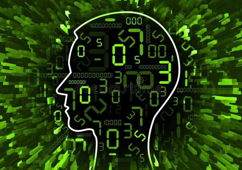 Kaos för mänskligt huvud av digitala nummer royaltyfri illustrationer
