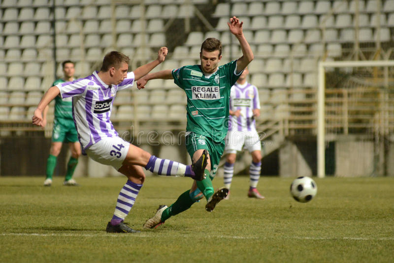Kaosvar - Ujpest Fußballspiel lizenzfreie stockfotos