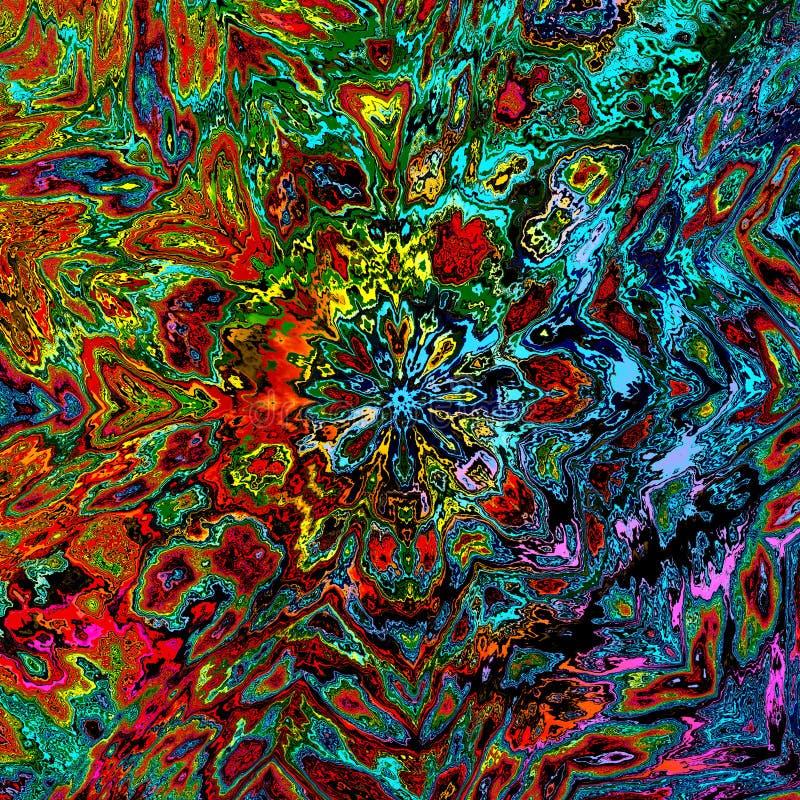 Kaotisk färgrik abstrakt illustration Rå torkad smuts Mental idé Gammal grungebild Stort korn Vattenskada Geometrisk konst stock illustrationer