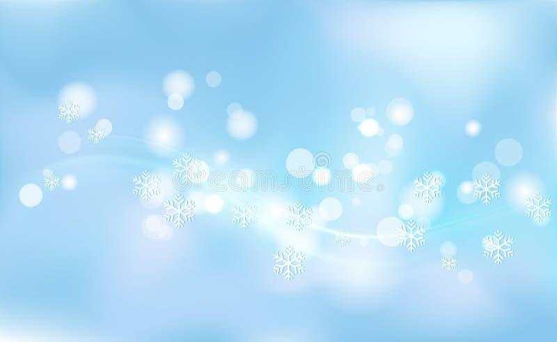 Kaotisk suddighet för jul, nya år, bokeh av ljusa snöflingor på bakgrundsblått Vektorillustration för design och att dekorera royaltyfria bilder