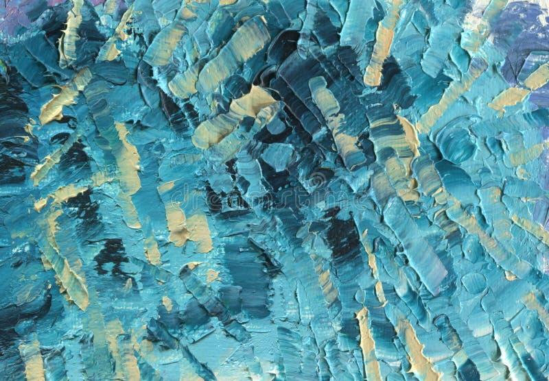 Kaotiska band i gräsplan-blått signaler Oljemålning på kanfas stock illustrationer