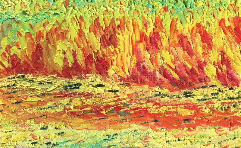 Kaotiska band i röda och gula signaler flod för målning för skogliggandeolja royaltyfri illustrationer