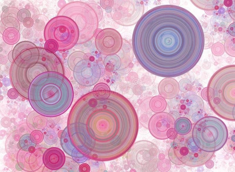Kaotiska färgrika cirklar, konfettier Abstrakt feriebakgrund Fantastisk 3D framförde den geometriska digitala fractalillustration royaltyfri illustrationer