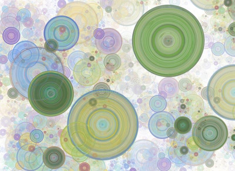 Kaotiska färgrika cirklar, konfettier Abstrakt feriebakgrund Fantastisk 3D framförde den geometriska digitala fractalillustration vektor illustrationer