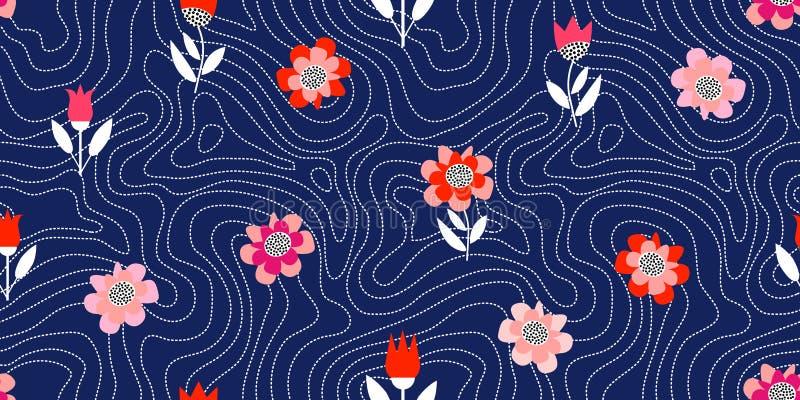 Kaotiska prickiga linjer Blom- tryck med geometriska beståndsdelar royaltyfri illustrationer