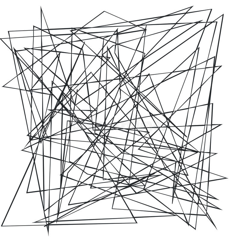 Kaotiska slumpmässiga, ojämna lättretliga linjer Abstrakt geometrisk bakgrund med brutna kurvor för att skapa texturer royaltyfri illustrationer