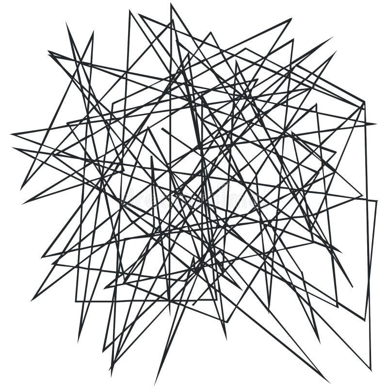 Kaotiska slumpmässiga, ojämna lättretliga linjer Abstrakt geometrisk bakgrund med brutna kurvor för att skapa texturer stock illustrationer