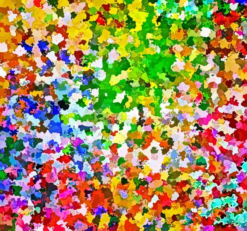 Kaotiskt Digital målningabstrakt begrepp stänker målarfärg i färgrik vibrerande bakgrund för pastellfärgade färger stock illustrationer