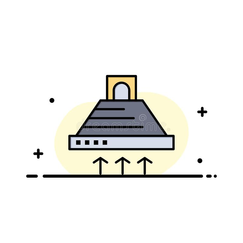 Kap, het Koken, Keuken, Uitlaat, Malplaatje Rook van de Bedrijfs het Vlakke Lijn Gevulde Pictogram Vectorbanner stock illustratie