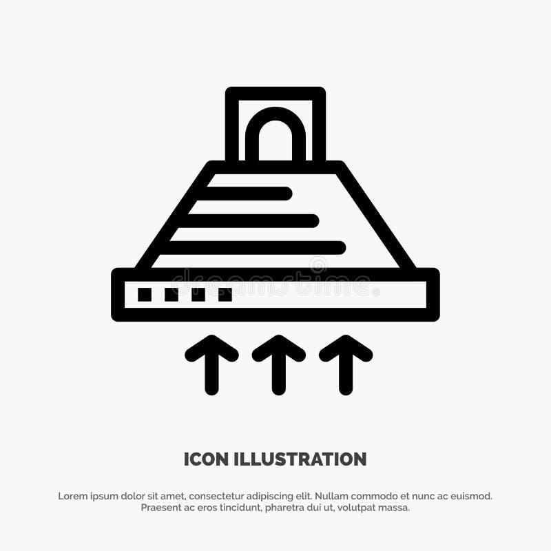 Kap, het Koken, Keuken, Uitlaat, Pictogram van de Rook het Vectorlijn royalty-vrije illustratie