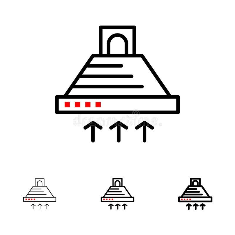 Kap, het Koken, Keuken, Uitlaat, het pictogramreeks van de Rook Gewaagde en dunne zwarte lijn royalty-vrije illustratie