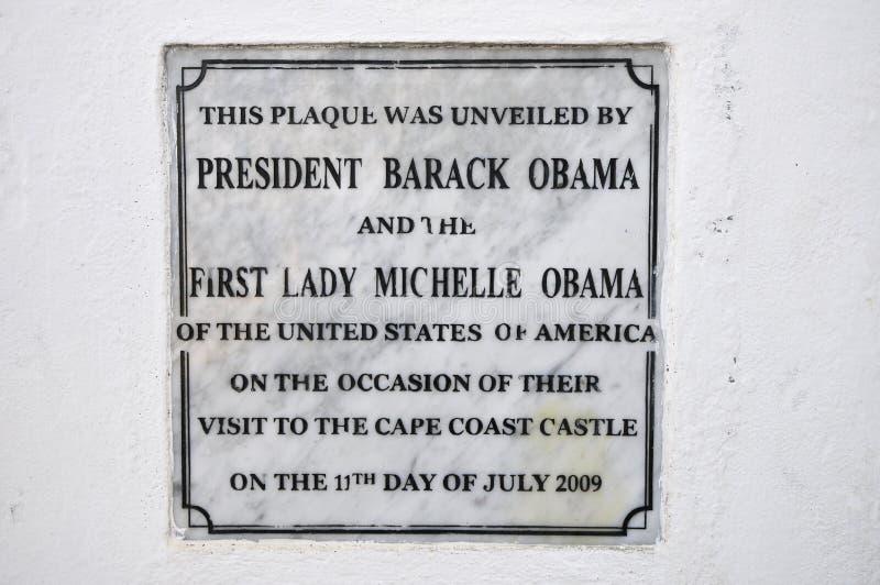 Kap-Küsten-Schloss-Obama-Plakette, Ghana stockfoto