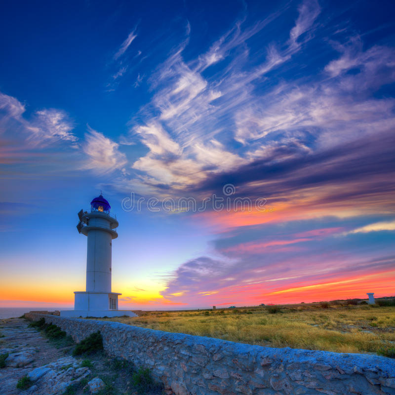 Kap-Leuchtturm-Formentera-Sonnenuntergang Barbaria Berberia stockfoto