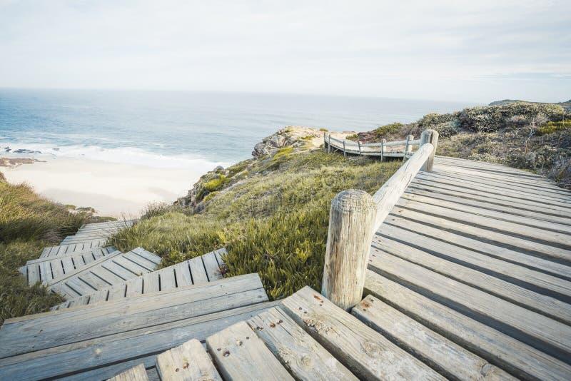 Kap Peninsula Wooden Walkway trappa ner till diasstranden royaltyfri bild