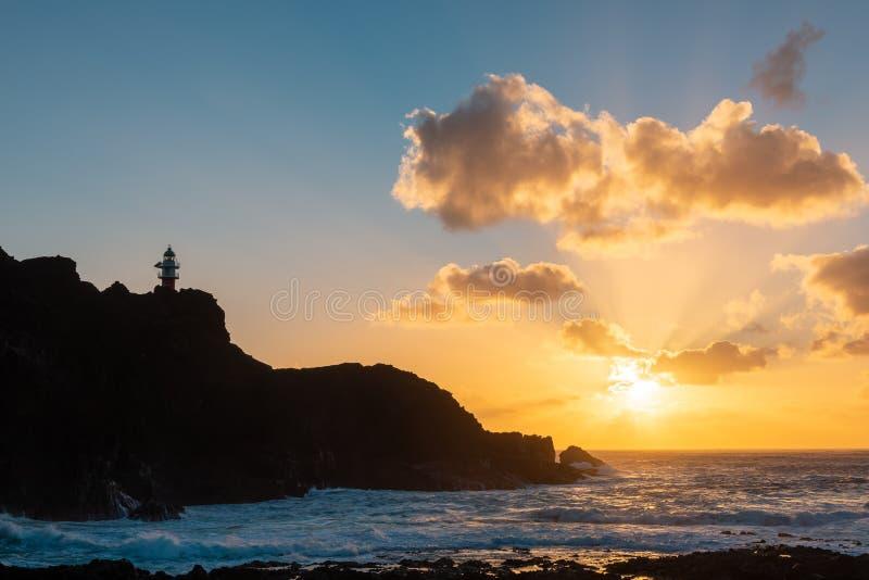 Kap Punta de Teno bei Sonnenuntergang, Teneriffa-Insel, Spanien lizenzfreies stockfoto