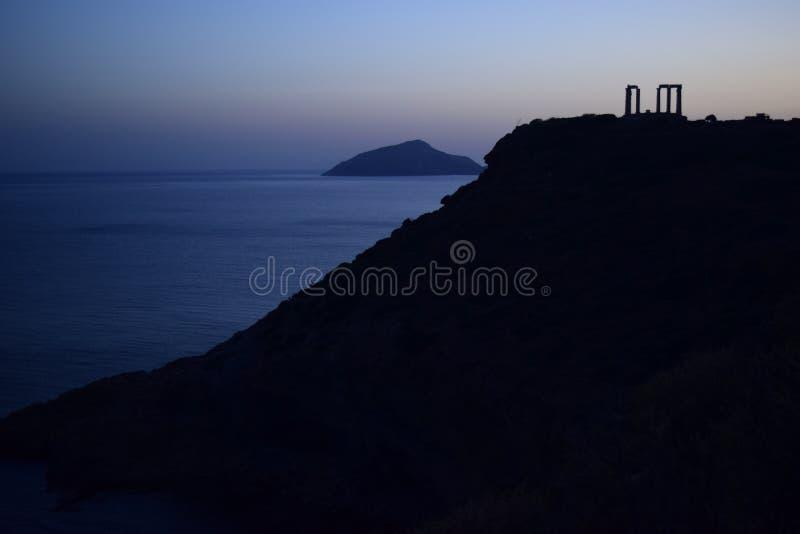 Kap Sounion der altgriechische Tempel von Poseidon stockfotografie