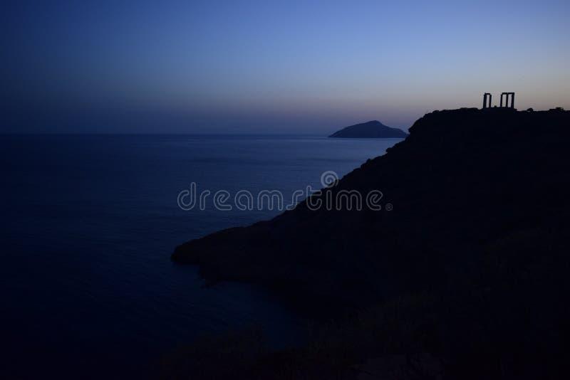 Kap Sounion der altgriechische Tempel von Poseidon lizenzfreies stockfoto