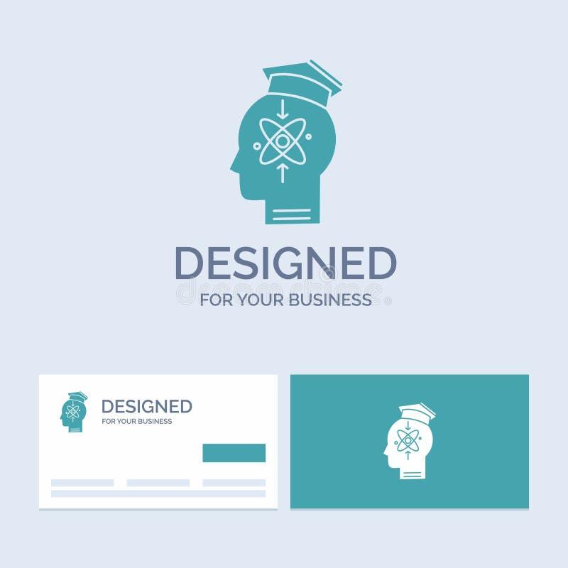 kapacitet huvud, människa, kunskap, expertisaffär Logo Glyph Icon Symbol för din affär Turkosaff?rskort med m?rke stock illustrationer