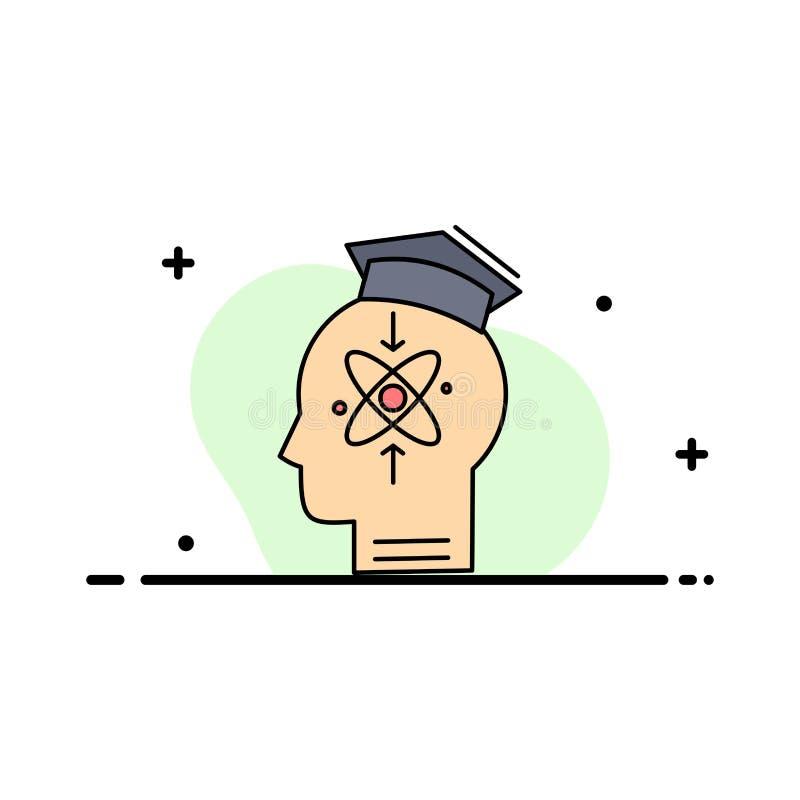 kapacitet huvud, människa, kunskap, för färgsymbol för expertis plan vektor royaltyfri illustrationer