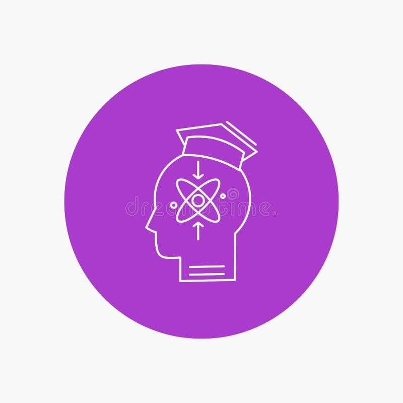 kapacitet huvud, människa, kunskap, vit linje symbol för expertis i cirkelbakgrund Vektorsymbolsillustration vektor illustrationer