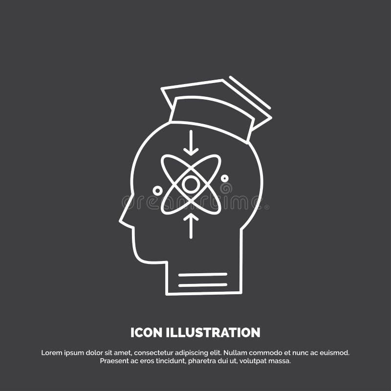 kapacitet huvud, m?nniska, kunskap, expertissymbol Linje vektorsymbol f?r UI och UX, website eller mobil applikation royaltyfri illustrationer