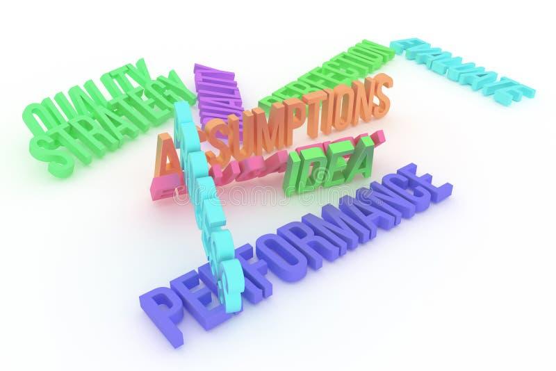 Kapacitet idé, begreppsmässiga färgrika 3D framförda ord för affär Tolkning, kreativitet, text & diagram vektor illustrationer