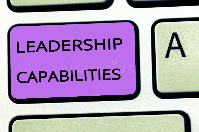 Kapaciteter för ledarskap för ordhandstiltext Affärsidé för uppsättning av kapacitetsförväntningar en ledare Competency arkivbilder