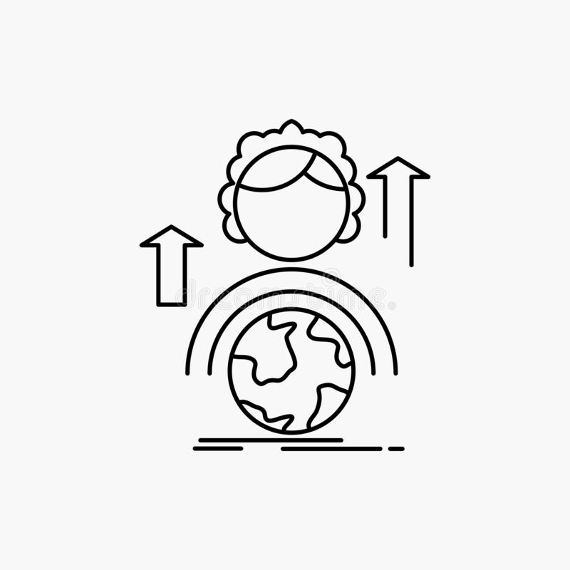 kapaciteter utveckling, kvinnlig, global online-linje symbol Vektor isolerad illustration stock illustrationer