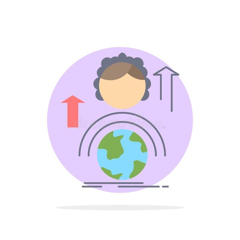 kapaciteter utveckling, kvinnlig, global online-plan färgsymbolsvektor vektor illustrationer