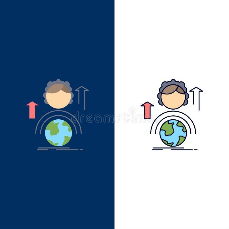 kapaciteter utveckling, kvinnlig, global online-plan färgsymbolsvektor royaltyfri illustrationer