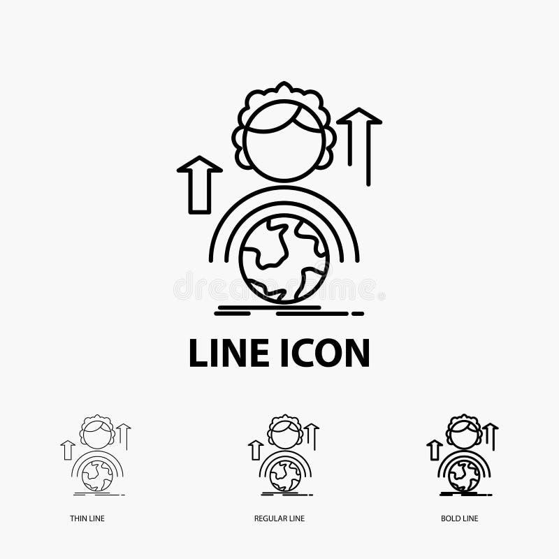 kapaciteter, utveckling, kvinnlig, global online-symbol i tunt, stamgäst och djärv linje stil ocks? vektor f?r coreldrawillustrat stock illustrationer