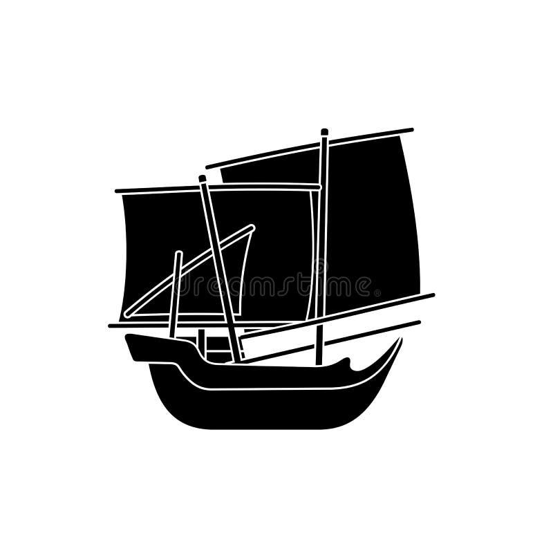 Kapal Patorani Sulawesi Selatan, nave tradicional indonesia, ejemplo de la silueta del vector ilustración del vector