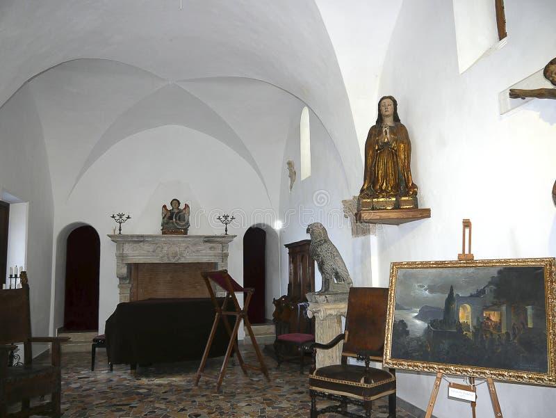 Kapel in Anacapri op het Eiland van Capri in de baai van Napels Italië stock afbeeldingen