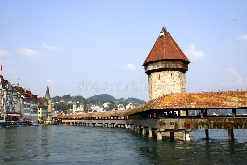 Kapel-brug in Luzerne stock afbeeldingen
