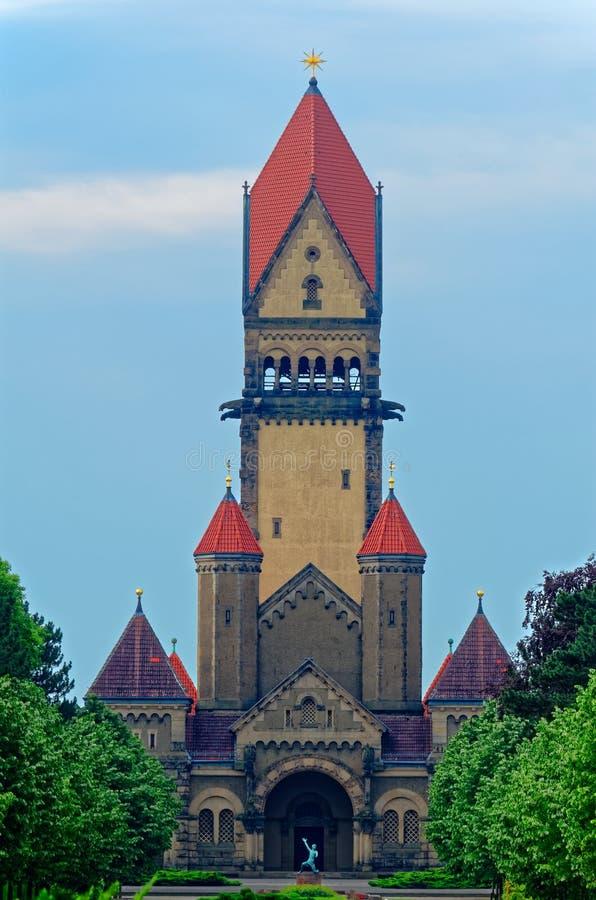 Kapel complex in Zuidenbegraafplaats in Leipzig, Duitsland stock fotografie