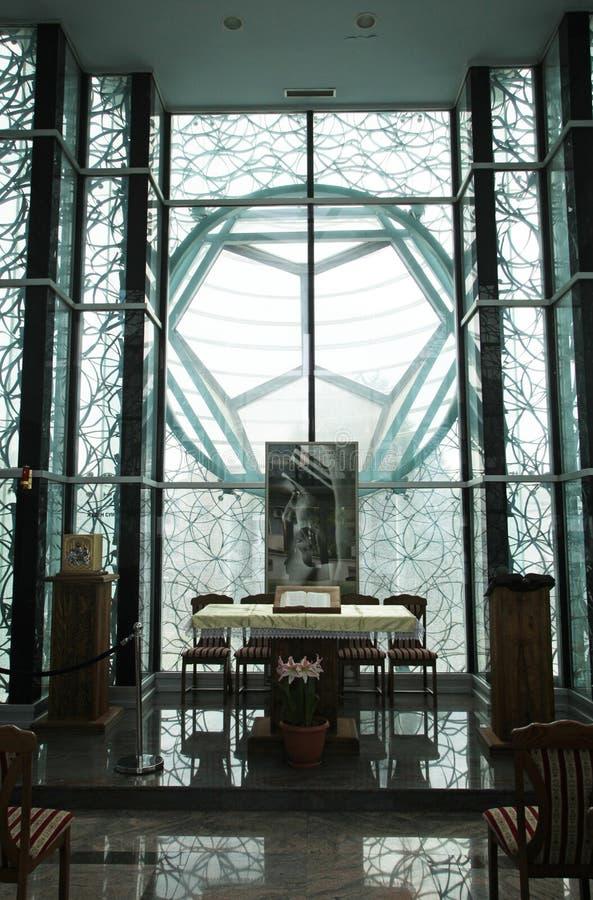 Kapel in Moeder Teresa Memorial House in Skopje stock afbeeldingen