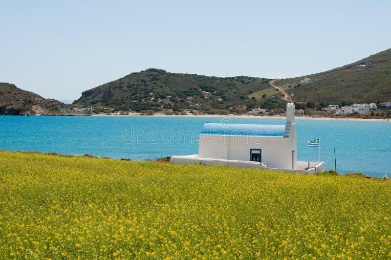 Kapel in Paros, Cycladen stock afbeeldingen