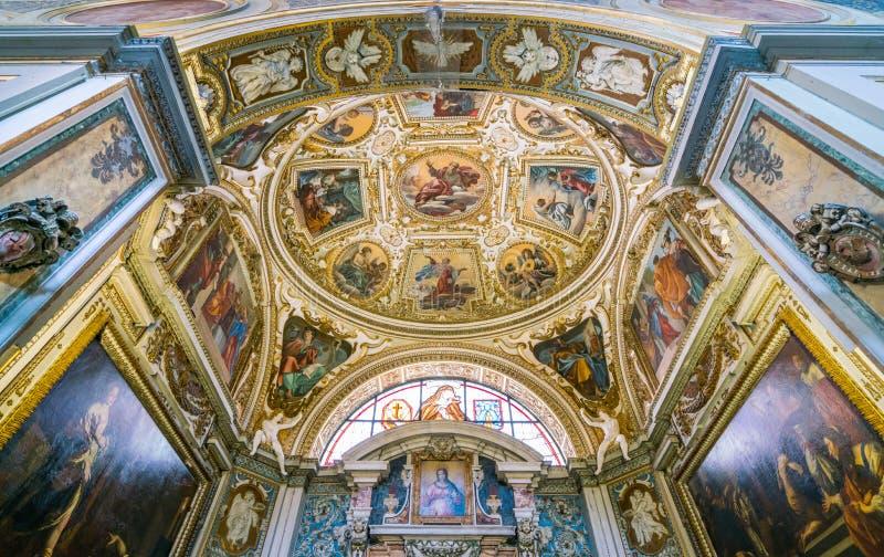 Kapel van de Heiligen Francis van Assisi en Hyacintha Mariscotti in de Basiliek van Heilige Lawrence in Lucina in Rome, Italië royalty-vrije stock afbeelding
