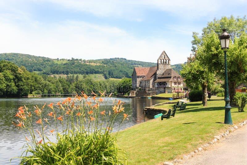 Kapell av botfärdigen på den Dordogne floden, Frankrike arkivfoto