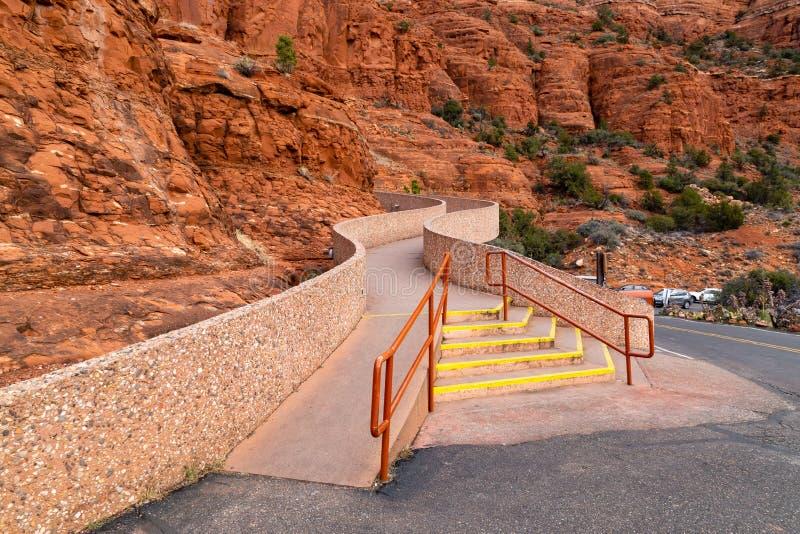 Kapell av den heliga arga Sedona AZ trappan royaltyfria bilder